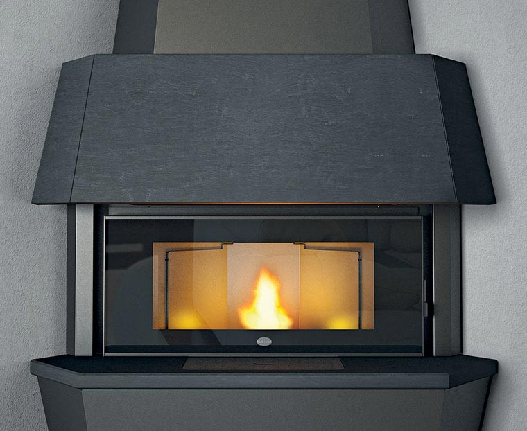 Giotto 12 kW standalone fireplace pellet color gray slate