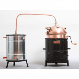 Hobby distilling pot still 35 liters with hand stirrer on solid fuel