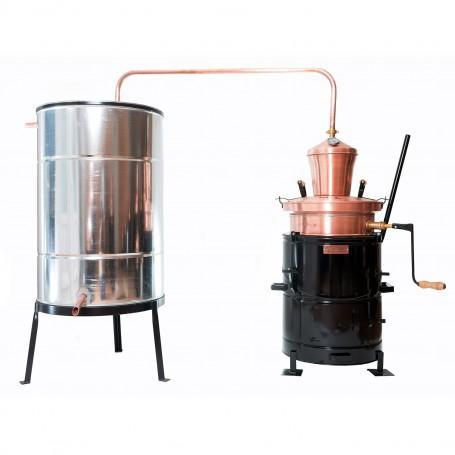 Overturn distilling pot still 40 liters with hand stirrer