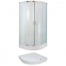 Set - Evora 90R/FIX half-circular shower cabin with tub