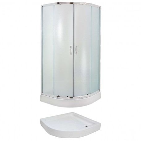 Set - Evora 90R/FIX half-circular shower cabin with tub