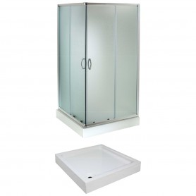 Set - Evora 80KV/FIX square shower cabin with tub