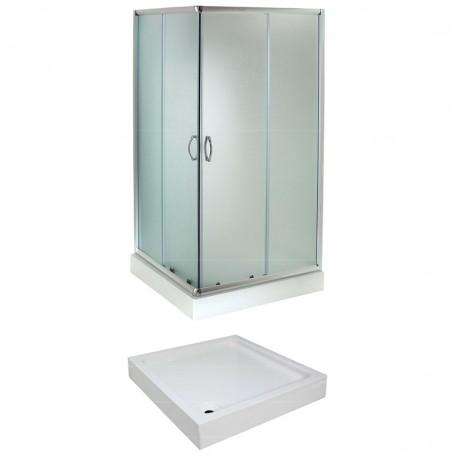 Set - Evora 80KV/FIX square shower cabin with tub