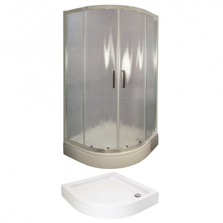 Set – Tossa 90R half circular shower cabin with tub