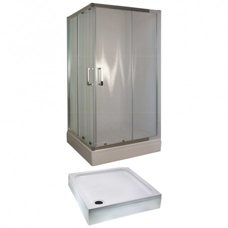 Set - Tossa 90KV square shower cabin with tub