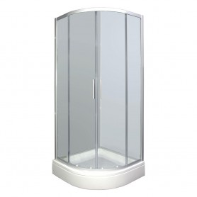 Set - Smart 90R half-circular shower cabin with tub