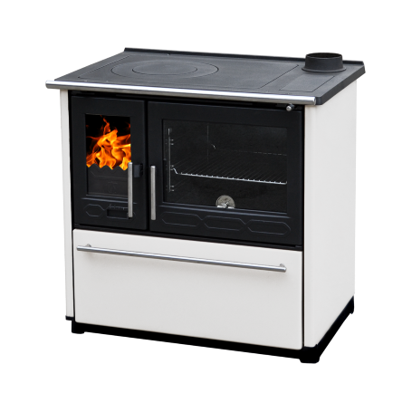 Cooker on solid fuel Plamen 850 Glas white right