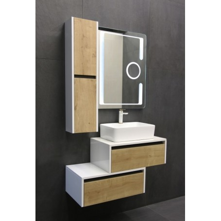 Vital 65 upper bathroom cabinet white gloss / oak