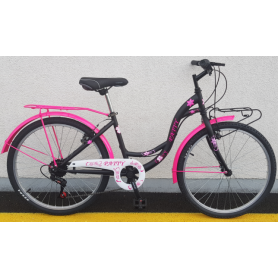 "Bicikl ""DINAMIC-PATTY""6-BR-GRIP ženski,24"",CTB oprema, crno-ružičasti-C"