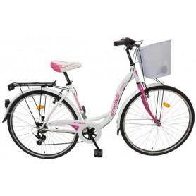 "Bicikl Spring Giulia 7/BR-SHIM/TY-22,ženski,košara,28"" bijelo-ružičasti - C"
