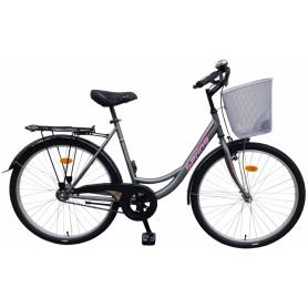 """Bicikl Spring nožna kočnica Torpedo/Velosteel,košara,26"""",sivo-ružičasti - C"""