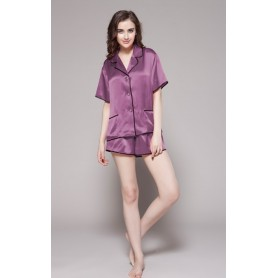 Svilena ženska kratka pidžama sa kontrastnim rubovima 22mm