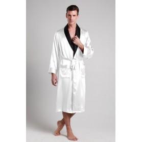 Svileni muški kućni ogrtač sa kontrastnim rubovima 22mm