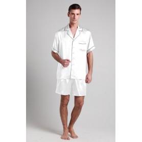 Svilena kratka muška pidžama sa kontrastnim rubovima 22mm