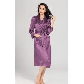 Svileni ženski dugi kućni ogrtač sa posebno dizajniranim motivima na rukavima 22mm