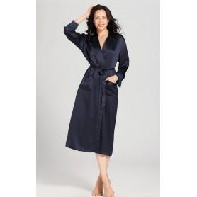 Svileni ženski dugi kućni ogrtač sa čipkom na rukavima 22mm