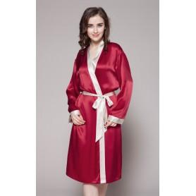 Svileni ženski kućni ogrtač sa kontrastnim rubovima 22mm