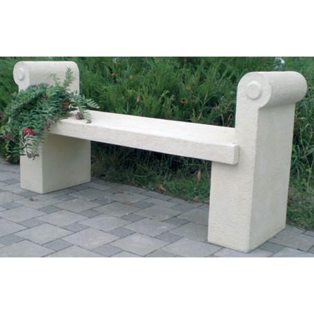 White cement bench 150x75x45 cm, w 335 kg