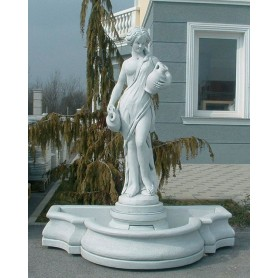 White cement Fountain 160x30x90 cm, w 350 kg