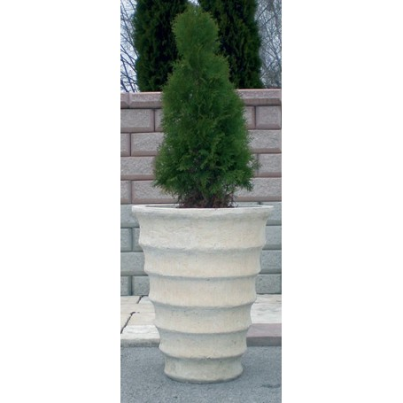 Concrete Jardiniere of white cement o 53 cm and 65 cm, 70 kg tm, w 70 kg