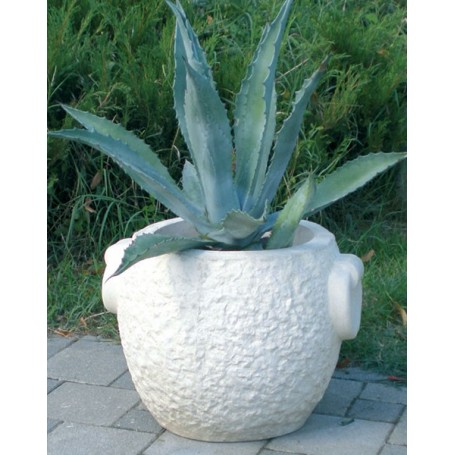 Jardiniere of white cement fi 40 cm in 37 cm, w 60 kg