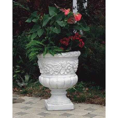 Concrete vase of white cement h 60 cm o 46 cm, w 65 kg