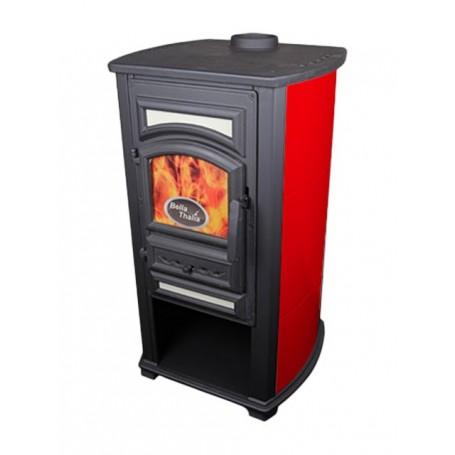 Thalia Forte wood burning stove - red