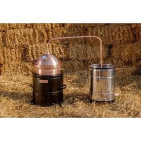 Hobby distilling pot still 35 liters with hand stirrer on solid fuel