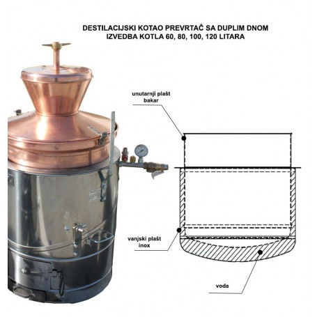 Brandy boiler overturn Super 80 l with double bottom