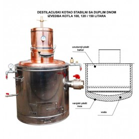 Stable still pot Super Cu 150 liters with double bottom