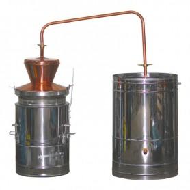 Bakreni kotao za rakiju 80 litara prevrtač sa ložištem od inoxa i mješalicom