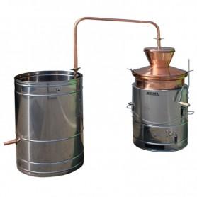 Bakreni kotao za rakiju 100 litara prevrtač sa ložištem od inoxa i mješalicom
