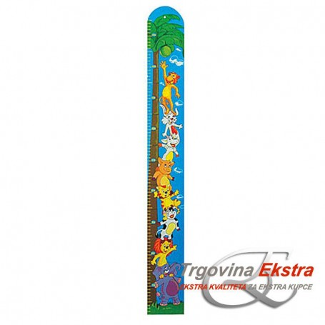 Wooden height meter for children with animal motifs